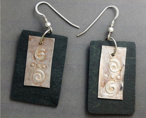 Fine Silver Over Slate Earrings On Sterling Hooks