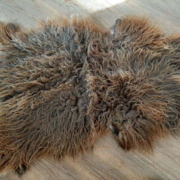 sheepskin long wavy brwn